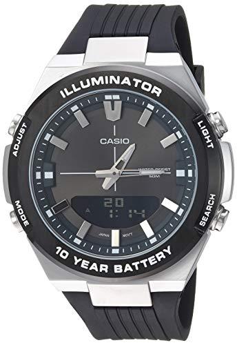 Casio Men s Illuminator Stainless Steel Quartz Watch with Polyurethane Strap, Black, 21.5 Model AMW-860-8AVCF