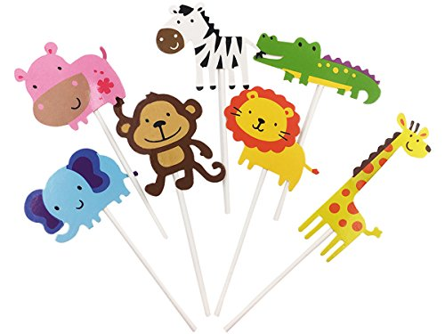 28-Pack Cute Zoo animal Cupcake Toppers Picks,Jungle Animals Cake Toppers for Kids Baby Shower Birthday Party Cake Decoration Supplies (Baby Shower Decorations Animals)