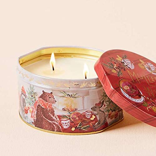 Anthropologie Illume Mulled Wine 11.3 Oz Soy Candle in Holiday Tin