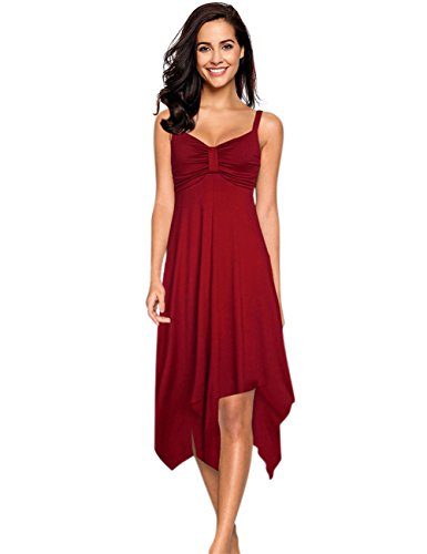 Leadingstar Women's Strap Irregular Hem Summer Sun Flared Dress (Burgundy, S)