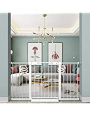 """Fairy Baby White Extra Wide or Narrow Baby Gate Pressure Mounted Pet Gate Walk Thru Child Safety Gate with Extensions White, 79.13""""-81.89"""""""