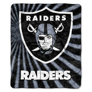 The Northwest Company Officially Licensed NFL Oakland Raiders Strobe Sherpa on Sherpa Throw Blanket, 50