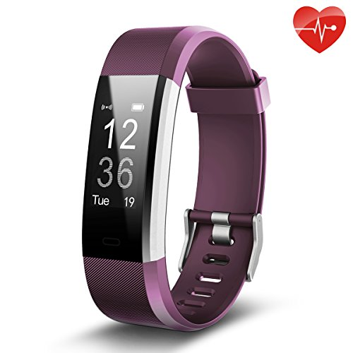 Juboury Fitness Tracker, Slim Heart Rate Smart Bracelet Wearable Pedometer Touch Screen Activity Tracker Fitness Watch for Android and IOS Smart Phones (Purple) by Juboury