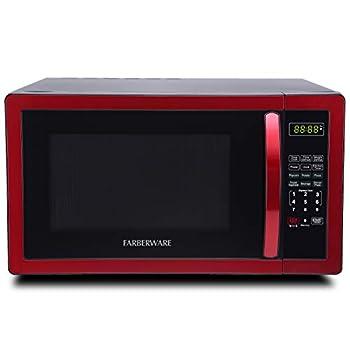 Image of Farberware Classic FMO11AHTBKN 1.1 Cubic Foot 1000-Watt Microwave Oven, Metallic Red