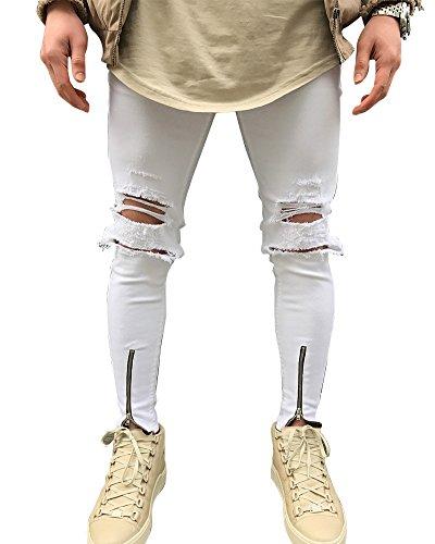 Hombre Elásticos Cómodos Jeans Slim Fit Denim vaqueros Destruido Rotos Tapered Tejanos Pantalón 31Blanco