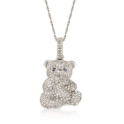Ross-Simons 0.35 ct. t.w. Diamond Teddy Bear Pendant Necklace in 14kt White Gold