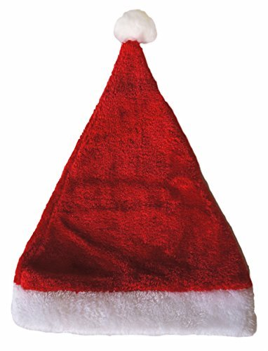 Plush Christmas Santa Claus Hat, Adult Size, 1 pack, Christmas Decoration and Santacon Christmas Costume
