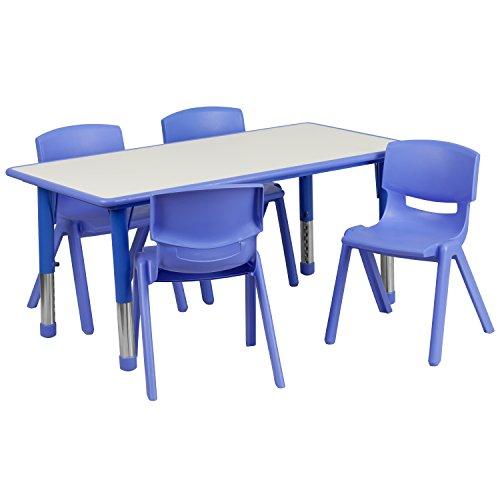 Flash Furniture 23.625''W x 47.25''L Rectangular Blue Plastic Height Adjustable Activity Table Set with 4 Chairs -