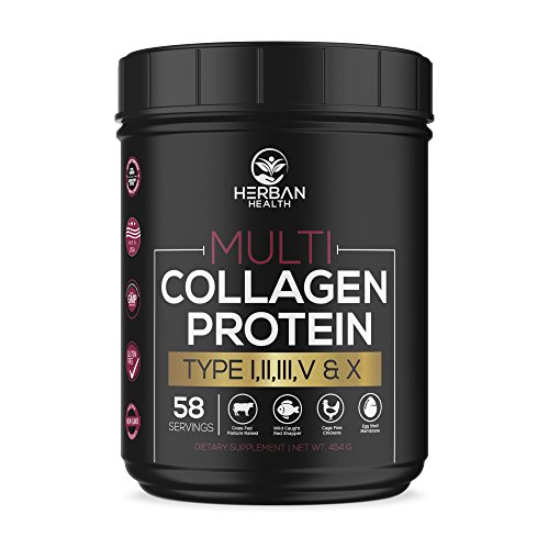 Multi Collagen Protein Powder - Non GMO, Gluten Free, Grass-Fed, Wild Caught Red Snapper, Cage Free Chickens, Egg Shell -Premium Support- Essential Amino Acids, Easily Mixed, Flavorless | 58 Servings