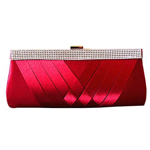 (HOZMLIFE Luxury Satin Evening Bag Clutch Women Rhinestone Evening Bag Party Purse Wedding Handbag Shoulder with Chain Strap (red))