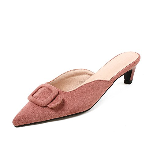 Shoe Fine Buckle Women's Shoes Design Comfortable Temperamental DecoStain Bow Head Sexuality Pink1 Comfort qEaCw00