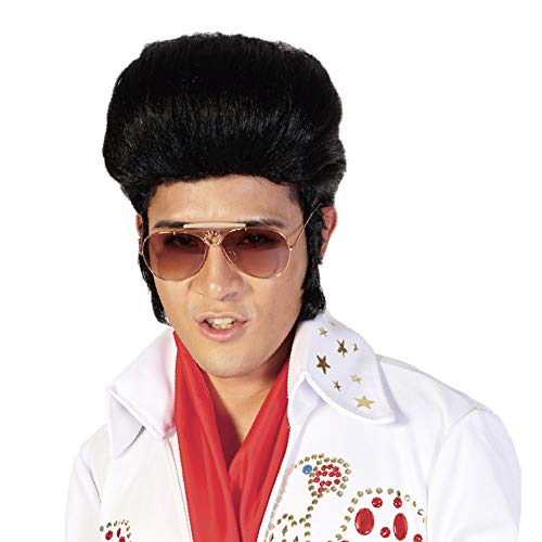 Black Cosplay Elvis Presley Wigs for Men-50s Costume Party Halloween Rock'n'Roll King Pompadour Wig with Sideburns Cool Bangs