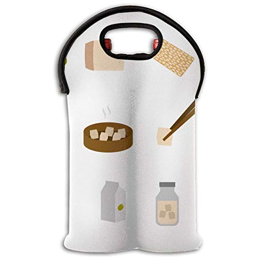 Tofu Ingredients 2 Bottle Wine Tote Carrier Bag Portable Insulated Polyester Beer Hand Bag for Travel,Picnic,Party