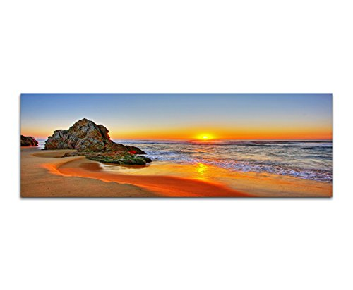 Panoramabild auf Leinwand und Keilrahmen 150x50cm Strand Meer Sonnenaufgang Fels
