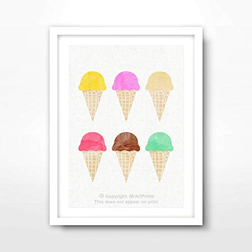 - ICE CREAM CONE FLAVOR CHART CUTE KITCHEN ART PRINT Food Drink Bright Modern Home Decor Wall Picture A4 A3 A2 (10 Sizes)