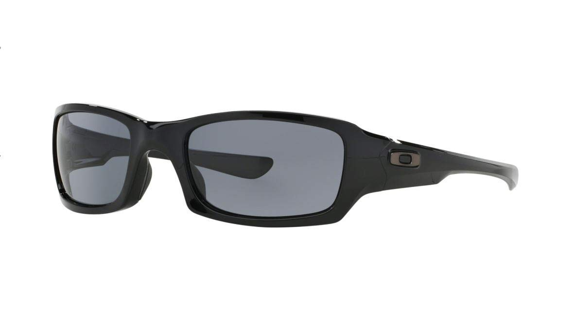 Oakley Men's OO9079 Fives Squared Rectangular Sunglasses, Polished Black/Grey, 54 mm by Oakley
