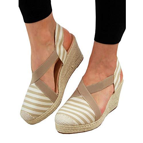 (Espadrille for Women Low Wedge-Stripes Canvas Closed Toe Platform Summer Dress Sandals)