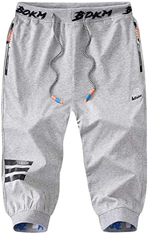 Flygo Men's 3/4 Workout Training Jogger Capri Pants Running Track Sweatpants Shorts 1