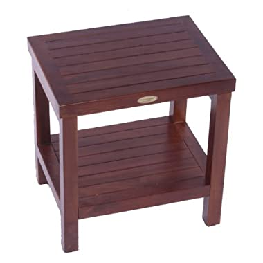 Classic 18  Teak Spa Shower Bench With Shelf- Armless Open Back
