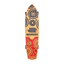 """STRGHT BANDIT-Bamboo Diamond Tail Cruiser 28.5"""" x 7.0"""" Skateboard blue/red-COMPLETE-"""