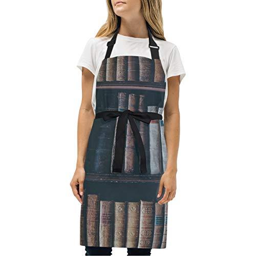 HJudge Womens Aprons Book Bookshelf Bookcase Old Kitchen Bib Aprons with Pockets Adjustable Buckle on Neck (Detail Elodie Bib)