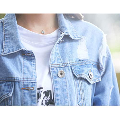 Da Denim Boyfriend In Giacca Moda Dimensioni colore Casual Lunghe Maniche Allentato Alla Nz Azzurro Leggera L A Blu Donna Azzurro nxRqwPw