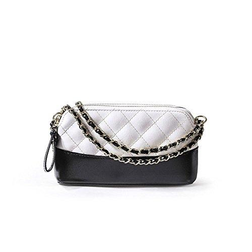 SJMMBB Bolsa De Cadena Al Hombro con Hombro Único,Negro,19X12.5X4.5 Color blanco y negro