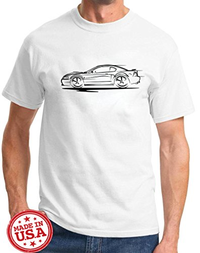 2005 Ford Mustang Alternator - 2003 2004 Ford Mach 1 Mustang Redline Series Classic Outline Design Tshirt XL white