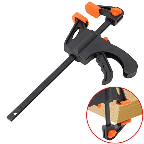 4 PACK - F Bar Clamp for Home Improvement, Quick Clamp Carpenter Tools Quick Ratchet Release Squeeze Works with Wood and More by Bargain Factory