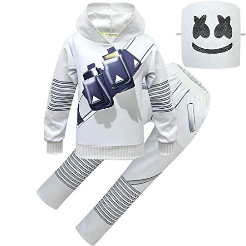 Kids DJ Costume Boys 2019 Halloween Cosplay Costume with Masks - Great for Music Festival Prop (8-10Y, White)