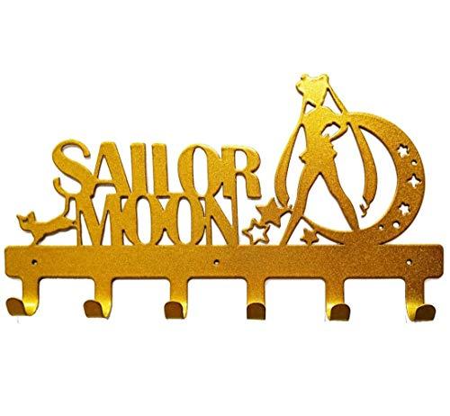 YOURNELO Cute Ironwork Cartoon Characters Animals Art Wall Mounted Decorative Coat Rack Hooks (Sailor Moon Gold)
