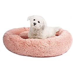 Veehoo Self-Warming Round Dog Bed for Medium Dogs & Cats, Luxurious Faux Fur Donut Cuddler, Bolster Pet Bed & Sofa, Extra Plush Dog Pillow & Couch, Machine Washable, Pink