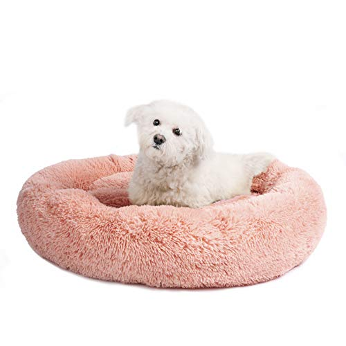 - Veehoo Self-Warming Round Dog Bed for Medium Dogs & Cats, Luxurious Faux Fur Donut Cuddler, Bolster Pet Bed & Sofa, Extra Plush Dog Pillow & Couch, Machine Washable, Pink