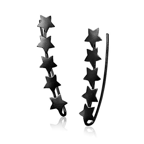 Sterling Silver Star Climber Earrings Lightweight Hypoallergenic