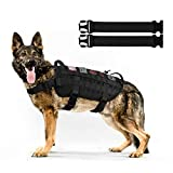Hanshengday Dog Tactical Service Training Harness Adjustable Military Patrol K9 Dog Vest Comfortable Molle No Pulling Front Clip Leash Attachment with Extender(Medium,Large Black Khaki)