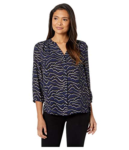 (NYDJ Women's 3/4 Sleeve Pintuck Top, Jagged Edge Peacoat, M)