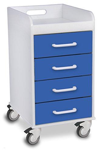 TrippNT 51080 Polyethylene Compact Locking Cart, 14″ Width x 27″ Height x 19″ Depth, 4 Drawers, Global Blue