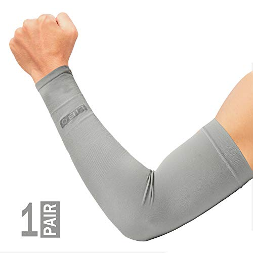 LIBO Thicker UV Protection Arm Sleeves Arm Tattoo Cover - Sun Sleeves - Perfect for Running,Biking, Driving or Other Outdoor Sports. Good Stretch and Moisture Wicking