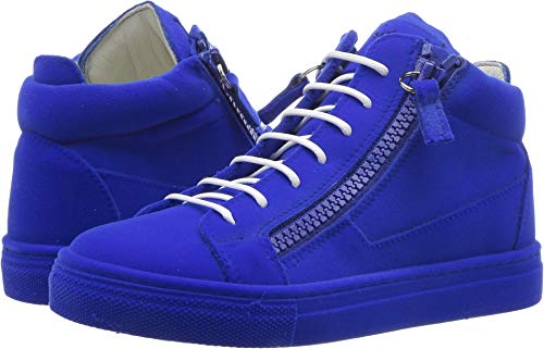 Giuseppe Zanotti Kids Unisex Flock Sneaker (Toddler/Little Kid) Electric Blue 30 M EU M by Giuseppe Zanotti Kids (Image #3)