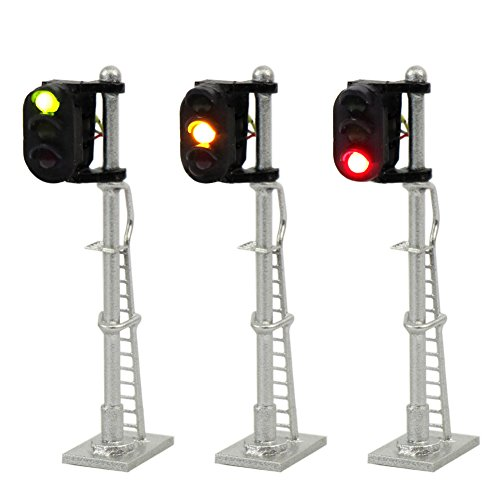 - JTD1503GYR 3PCS Model Railroad Train Signals 3-Lights Block Signal N Scale 12V Green-Yellow-Red Traffic Lights Train Layout