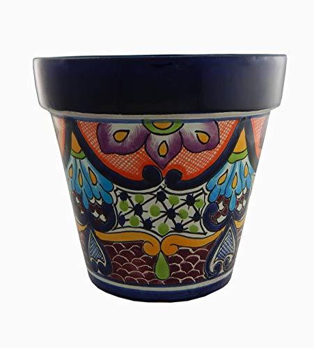 Mexican Talavera Planter Ceramic Flower Pot Folk Art Pottery Garden Handmade # 18