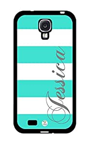 iZERCASE Personalized Turquoise and White Stripes Pattern RUBBER Samsung Galaxy S4 Case - Fits Samsung Galaxy S4 T-Mobile, AT&T, Sprint, Verizon and International (Black)