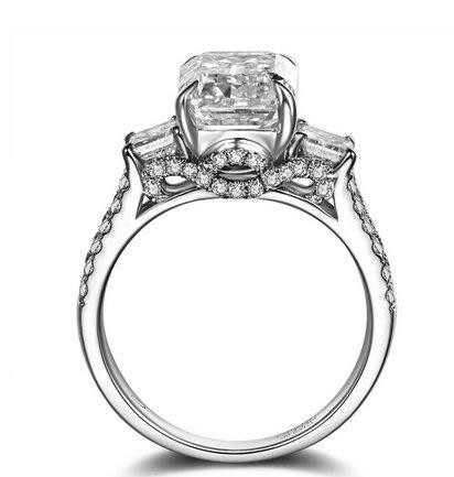 Gowe Trio Coupe Émeraude Pave 2ct Naturel H/SI coupe émeraude 18K Or Blanc Diamant Bague de fiançailles