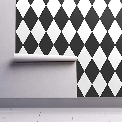 - Removable Water-Activated Wallpaper - Black and White Diamond Geometric Decor Diamond Black White Bw Geometric Check by Peacoquettedesigns - 24in x 60in Smooth Textured Water-Activated Wallpaper Roll