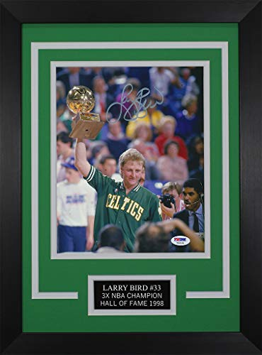 Larry Bird Autographed Celtics Photo - Beautifully Matted and Framed - Hand Signed By Larry Bird and Certified Authentic by PSA - Includes Certificate of Authenticity - Deisgn ()