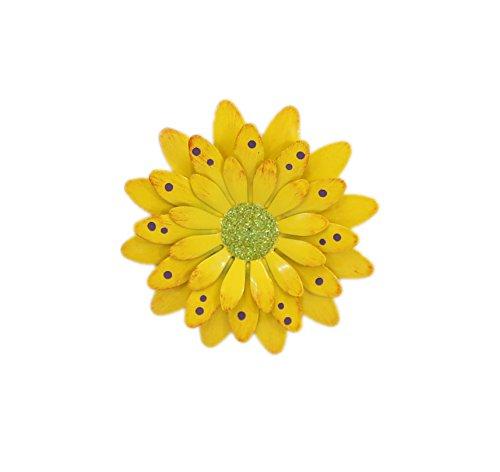 Lemon Yellow Polkadot Gerbera Daisy Magnet - Set Of 3