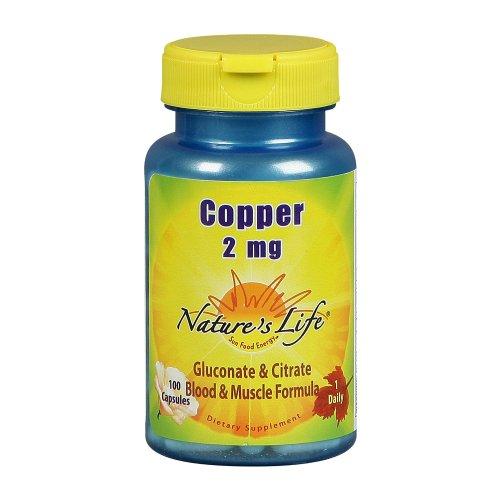 Nature capsules de cuivre de la vie, 2 mg, 100 Count (Pack de 2)