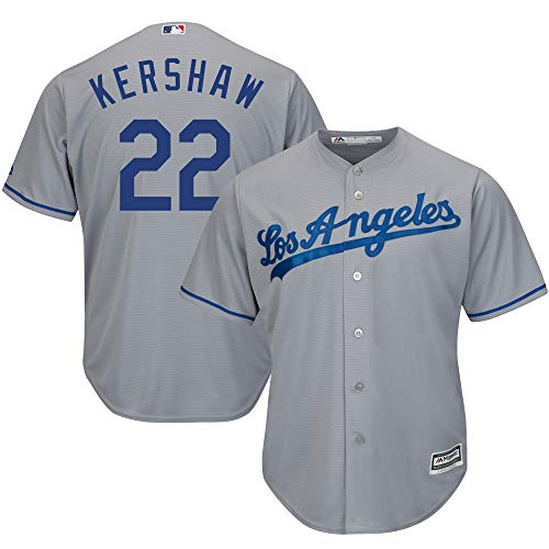 (Genuine Stuff Clayton Kershaw Los Angeles MLB Majestic Youth Boys 8-20 Gray Road Cool Base Replica Jersey (Youth Medium 10-12))