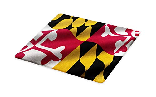 Lunarable American Cutting Board, Flag The US State Maryland Closeup 3D Style Picture Waving America National, Decorative Tempered Glass Cutting Serving Board, Large Size, Multicolor