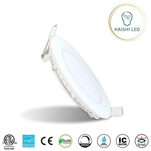 4-Inch 9W 120V Recessed Ultra Thin Ceiling LED Downlight Air Tight Retrofit Slim IC Rated ETL Energy Star 750 Lumens 5000K by HAISHI